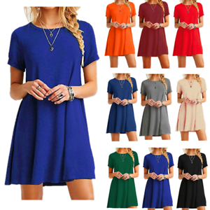 Women-039-s-Cotton-Short-Sleeve-Solid-Loose-Tunic-Top-Shirt-Blouse-Dress-Plus-Size