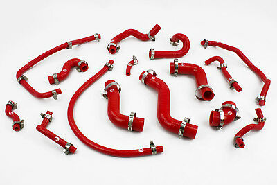 Mazda MX5 MK1 1.6 Red Silicone Hose Kit Includes Stainless Clips MJC Automotive