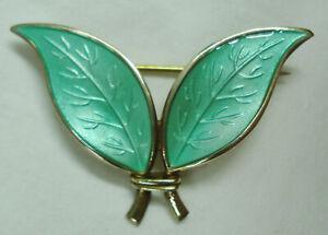 David Andersen Sterling Guilloche Enamel Earrings Brooch Pin Norway Modernist Green Brooch