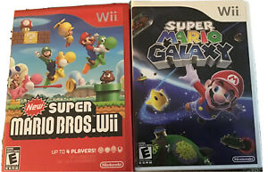 Super-Mario-Galaxy-amp-New-Super-Mario-Bros-Wii-Nintendo-Wii-Lot-Game-Bundle