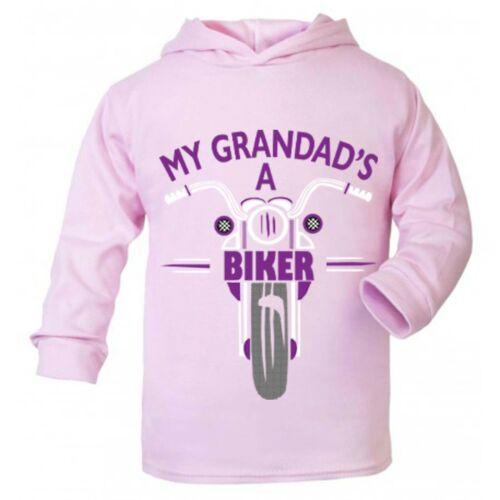 Mon grand-père est un motard moto Enfant Enfants Rose à Capuche 100/% coton