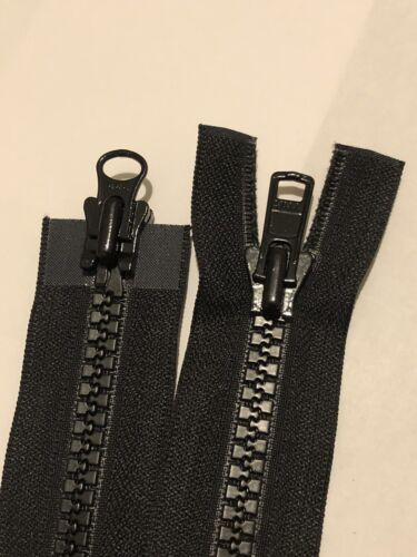 NO-8 2WAY Negro Vislon//Plástico//Grueso abiertas YKK Cremallera 39 Pulgadas//100 cm de largo