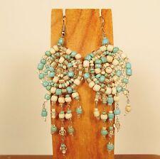 "2 1/2"" Turquoise Blue Dreamcatcher Handmade Dangle Seed Bead Hook Earring"