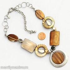 Chico's Signed Necklace Silver Tone Chunky Chain Green Gray Amber Color Shell