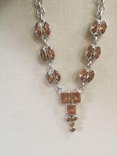 Sterling Silver 925  Honey Topaz Gemstone Drop Necklace