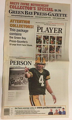 Brett Favre Retires Packers Green Bay Press Gazette Extra Special Ed Newspaper