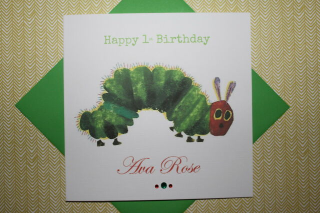 Handmade Personalised The Very Hungry Caterpillar Birthday Card Son Daughter