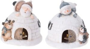 Christmas-Decor-Igloo-With-Snow-Led-Gifts-Reindeer-amp-Penguin-Light-Up-Ornament