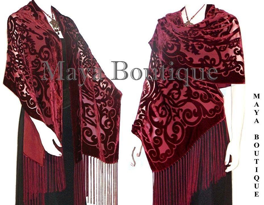 Maya Matazaro Shawl Wrap Scarf Burnout Velvet Art Nouveau Deep Red Fringed USA
