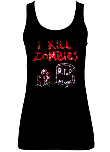 all sizes 8 to 16 WITH RHINESTUDS I KILL ZOMBIES GOTHIC  VESTS TANK TOPS