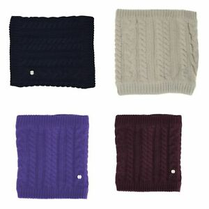 HyFASHION-Meribel-Cable-Knit-Snood-Neck-Tube-Navy-Oatmeal-UltraViolet-Burgundy