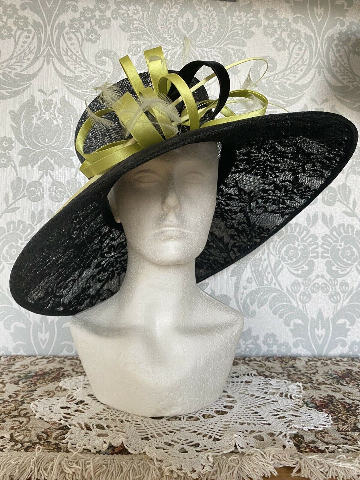 Special Occasion Wide Brim Black And Lime Floral Hat Loop And Feather Quill