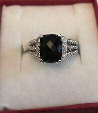 abc23e8aee26d David Yurman Petite Wheaton Ring With Black Onyx And Diamonds 10x8mm Size 9