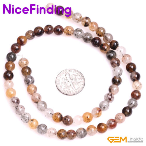 """Natural Multi Color Lodolite Quartz Stone Beads For Jewelry Making Strand 15/"""" NF"""