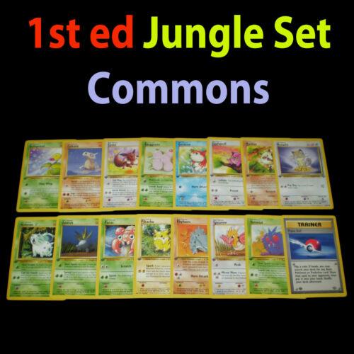 NM 1st edition COMPLETE Pokemon JUNGLE 16-Card Common Set//64 Pikachu Eevee TCG
