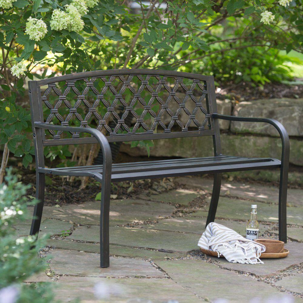 Prime Coral Coast Crossweave Curved Back 4 Ft Metal Garden Bench Black Ibusinesslaw Wood Chair Design Ideas Ibusinesslaworg