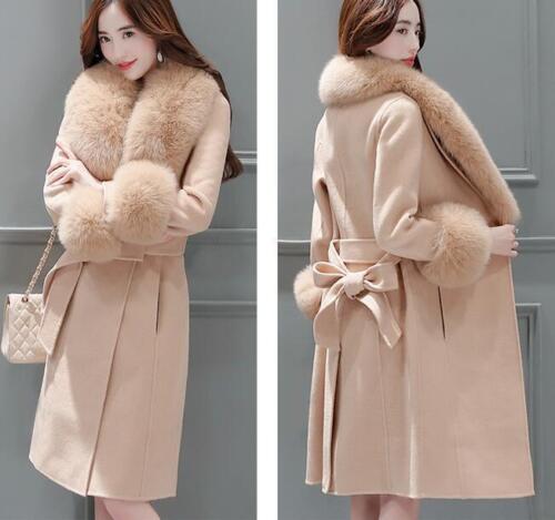 Coat laine de Long Mélange Trench Collar R664 Manteau Mode Womens De Faux Fur Outwear X1fqwxZ5x