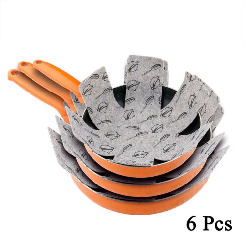 UK 6XFelt Pad Pot and Pan Protectors Prevent Scratching NON STICK Cookware 15/""