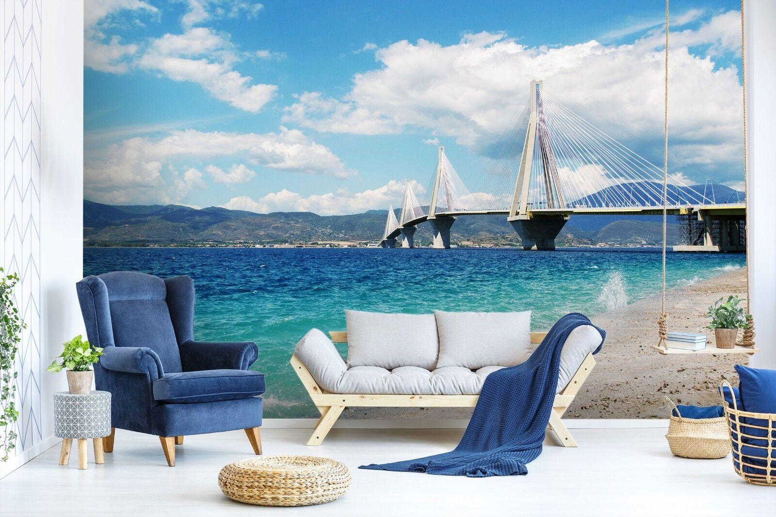 3D Sea Beach Bridge 87 Wallpaper Mural Paper Wall Print Murals UK Lemon