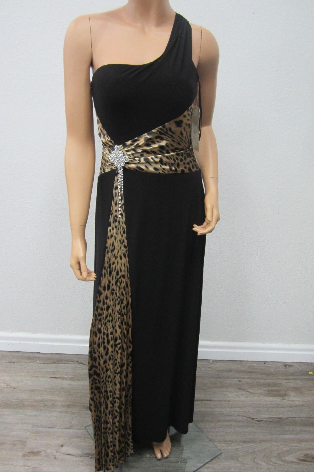 NWT EUREKA  Embellished Embellished Embellished Rhinestone One Strap Shoulder Dress Blk PrintGown Size S 32ef5d