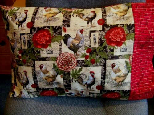 TRAVEL SIZE PILLOWCASE ROOSTER FLORAL PATCH//RED BRICK CUFF #9524