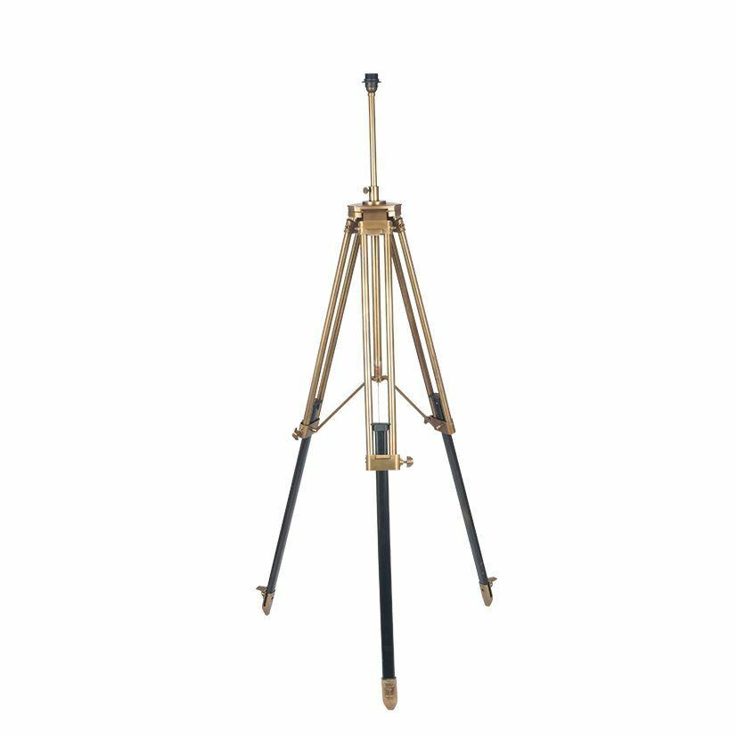 Stylish Antique Brass Metal & Dark Wood Tripod Floor Lamp - Home Lighting Decor