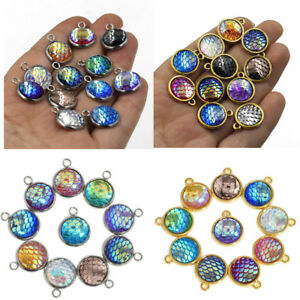 10PCS-Mermaid-Fish-Scale-Resin-Metal-Charms-Pendant-Jewelry-Necklace-DIY-12mm