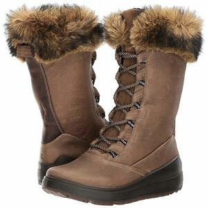 1a8a29805b Details about 9 - 9.5 M Eu 40 ECCO Women's Noyce Tall Brown Leather Lace-up  Winter Snow Boots