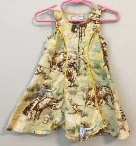 4e2a21c33 Vtg Western Wear Child's Rodeo Dress Horse Cowboy Yellow Pearl Snap ...