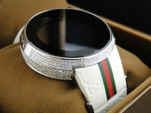 dc6cf130130 Custom Brand New Mens I Gucci Digital White Full Diamond Watch 4 Ct ...
