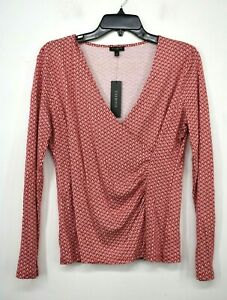 Talbots Womens Red White Polka Dot Long Sleeve V-Neck Wrap Blouse Top Small NWT
