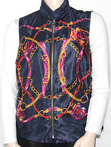 NEW-Charter-Club-Plus-1X-Reversible-Status-Print-Quilted-Vest-Jacket-BLUE-COMBO