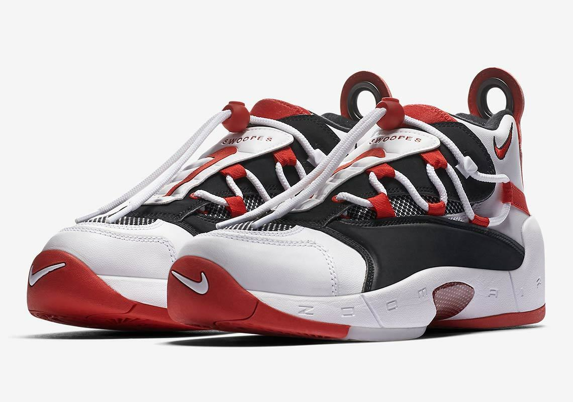 WOMENS NIKE AIR SWOOPES II 2 - UK SIZE 6.5 - WHITE BLACK RED (917592-100)