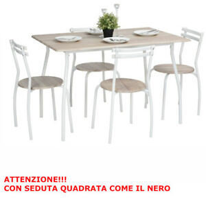 Set tinello arka tavolo con 4 sedie in acciaio e mdf for Sedie per tinello