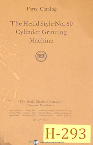 Cylinder Grinding Heald 60 Parts Lists and Assembly Drawings Manual
