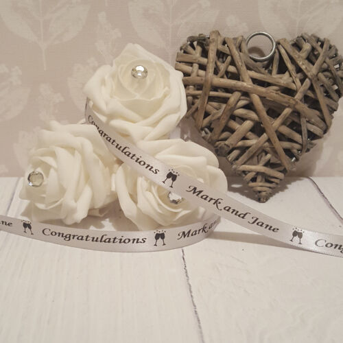 10mm x 25 metres Personalised Printed Ribbon Wedding Favours Gifts Mr /& Mrs