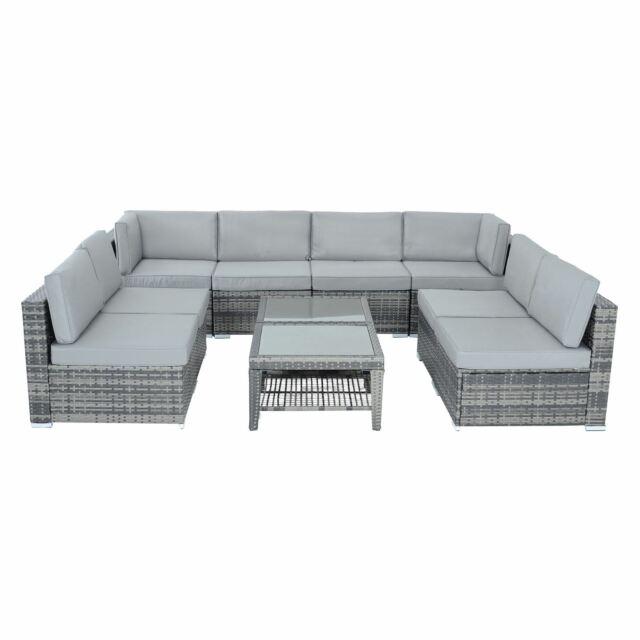 Brilliant Azuma Outdoor Monaco 10Pc Aluminium Rattan Garden Furniture Patio Sofa Set Grey Download Free Architecture Designs Parabritishbridgeorg