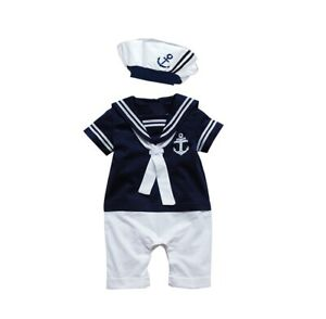 Baby-Boy-Girl-Sailor-1-Pc-Romper-Suit-Grow-Summer-Marine-Outfit-0-24-m-Free-P-P