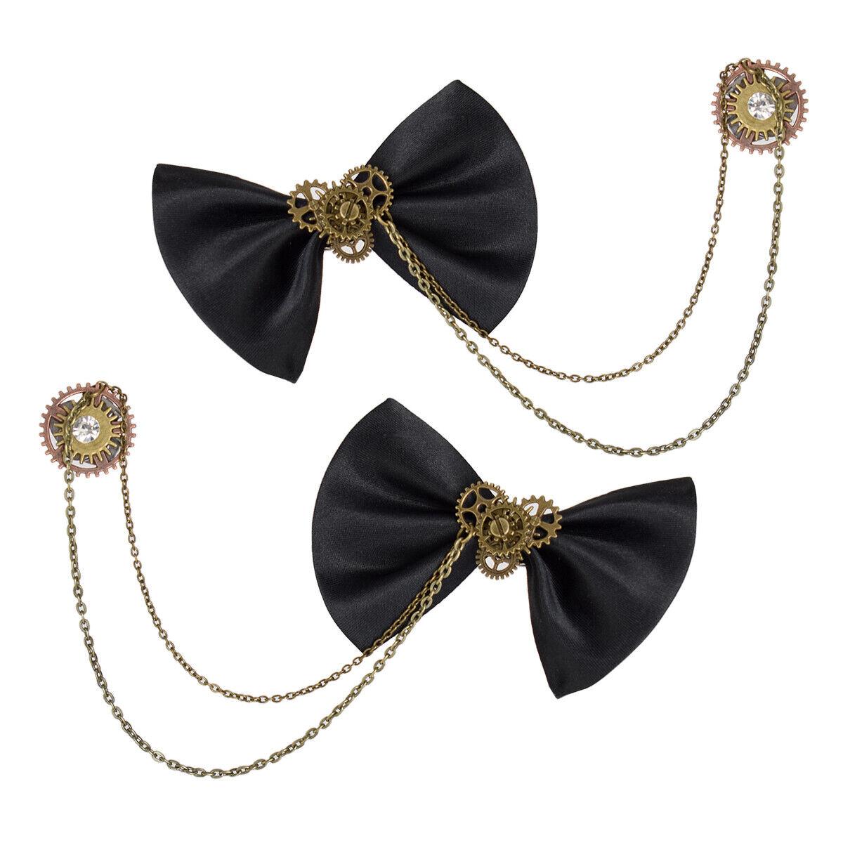 Retro Victorian Gothic Lolita Black Bowknot Gear Chain Decorative Shoe Clips