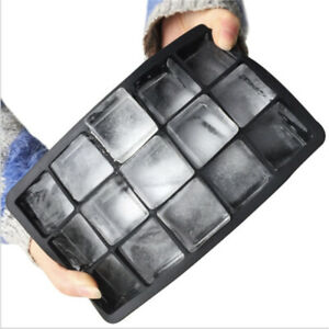 Food Grade Silica Gel Ice Cube Tray Large Mould Cake Baking Mold 15 Grids Black