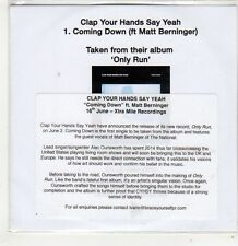 (FJ718) Clap Your Hands Say Yeah, Coming Down ft Matt Berninger - 2014 DJ CD