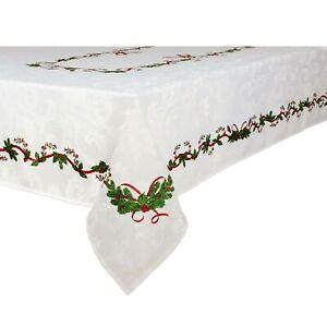 Ornate Christmas Jacquard Tablecloth Oblong 150x225 Or 150x260 150x300cm Ebay