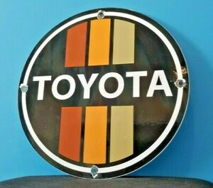 VINTAGE-TOYOTA-MOTOR-CO-PORCELAIN-GAS-AUTO-SALES-SERVICE-DEALERSHIP-SIGN