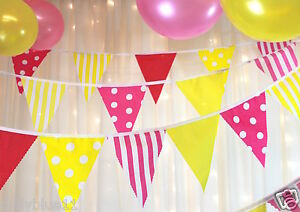 Yellow hot pink party bunting spots stripes wedding baby shower various lengths