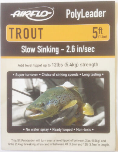 Airflo 5ft Trout PolyLeader*All Densities*Trout Fishing Leader Sink Tip Tapered