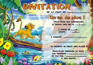 Détails Sur 5 Ou 12 Cartes Invitation Anniversaire Le Roi Lion Réf 307