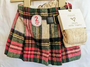 NEXT - Baby Tartan Skirt/ Kilt with Tights - 6-9 Months - Tag £19 - v16, v15 k46