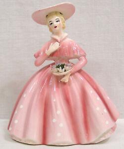 "Vintage Figural LEFTON Lady Planter Pink Dress holding Flowers 1950s 6 1/2"" tall"