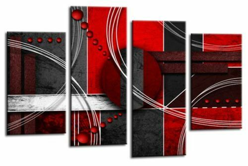 Large Red Black Grey Abstract Canvas Wall Art Picture Split Multi 4 Panel Set | eBay  sc 1 st  eBay & Large Red Black Grey Abstract Canvas Wall Art Picture Split Multi 4 ...