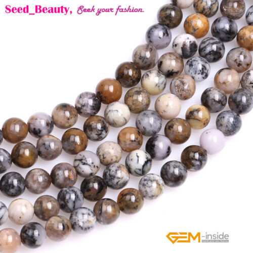 """Natural Round Brown Dendritic Moss Opal Stone Loose Beads for Jewelry Making 15/"""""""